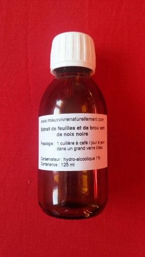 Flacon d'extrait de brou vert de noix noire bio 125 ml